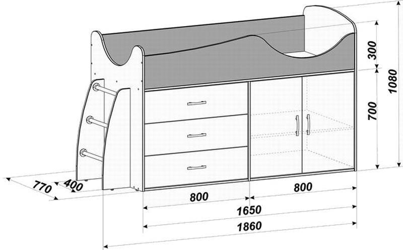 Детская кровать с боковой лестницей