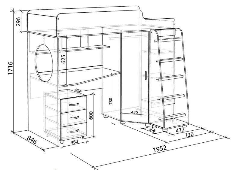 Детская кровать для подростка с организованным рабочим местом, шкафчиком и полочками для хранения