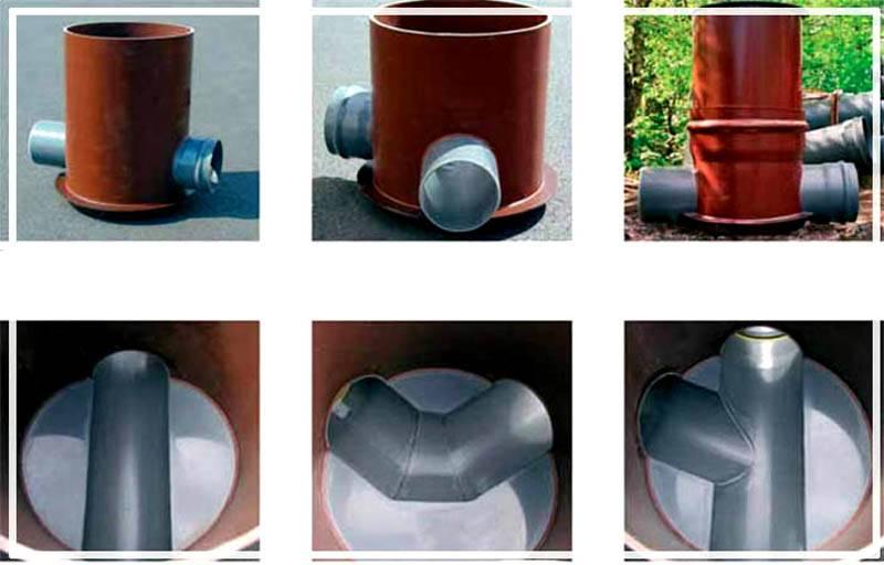 Различные типы днища пластикового канализационного колодца