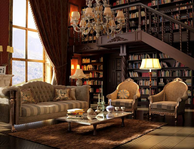 Интерьер гостиной с библиотекой в классическом стиле фото