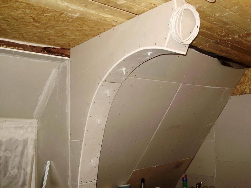 Изогнутая конструкция из гипоскартона