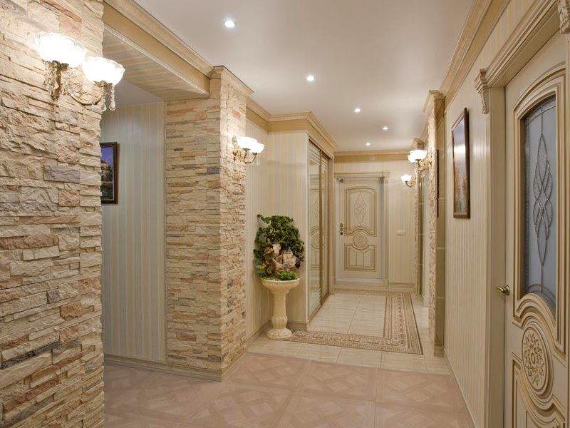 картинки коридора декоративным камнем фото необходимо просто отгородиться