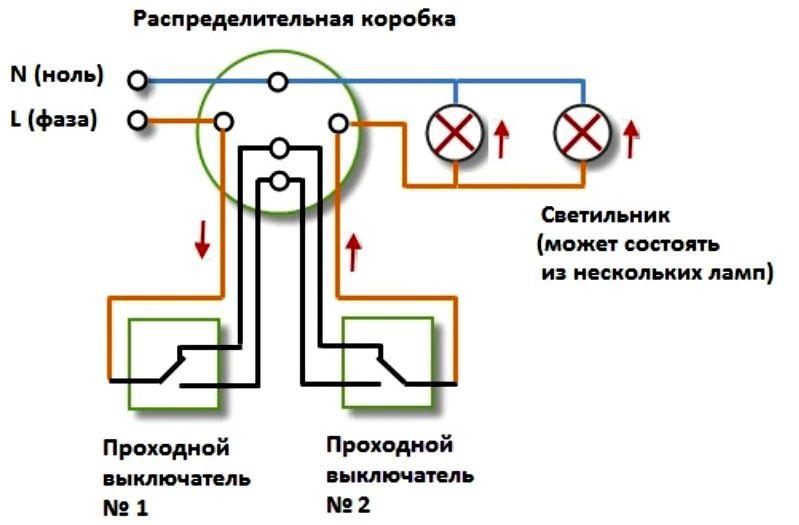 Схема подключения проходного выключателя к группе освещения