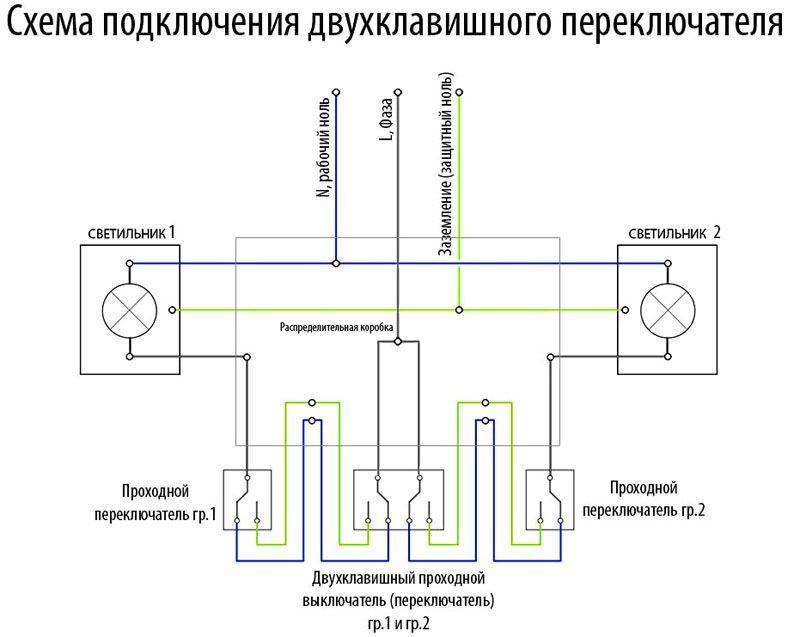 Схема того как подключить двойной проходной выключатель
