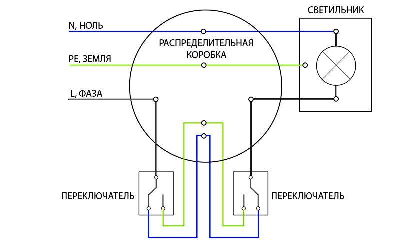 Схема подключения проходного выключателя на 2 точки