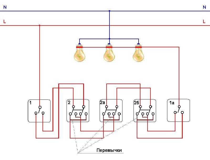 Принципиальная схема подключения проходных переключателей для 4 мест