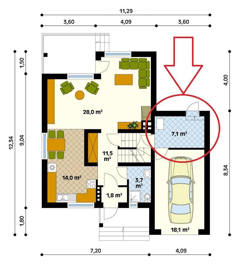 План пристройки к деревянному дому