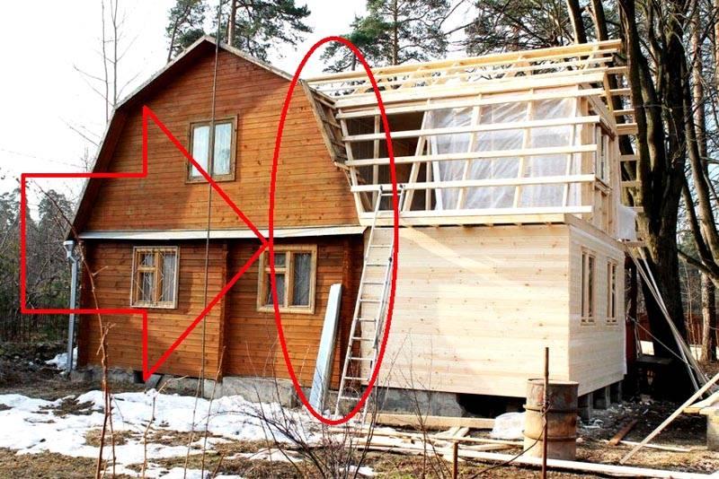 Пристрой к деревянному дому. Отмечена самая сложная часть, стыковка двух конструкций