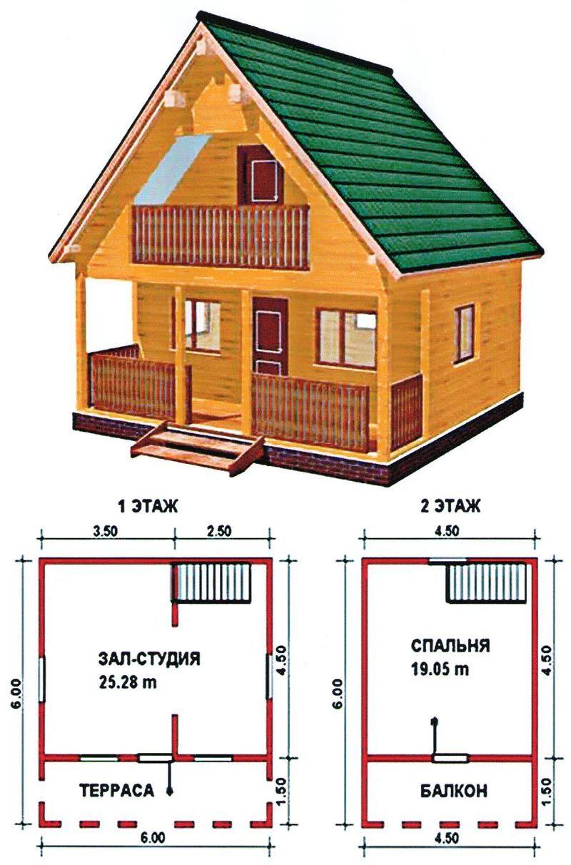 План двухэтажного дома 6 на 6 метров