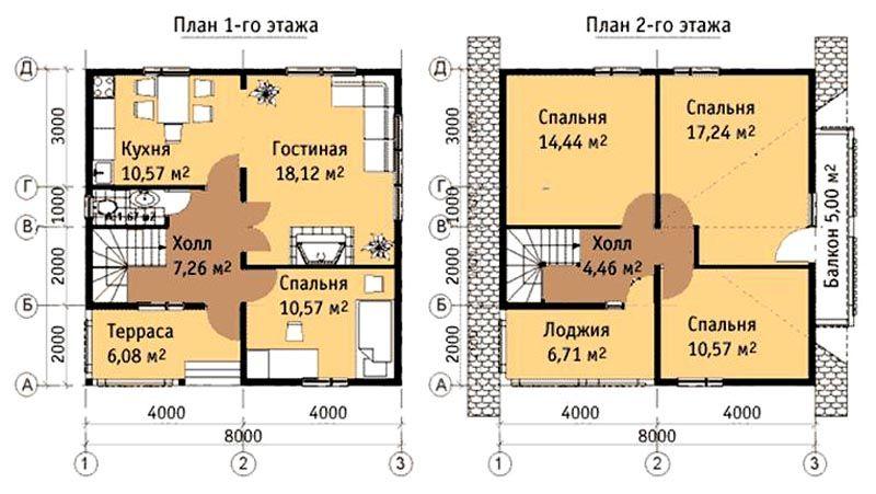 План двухэтажного дома 8 на 8 метров