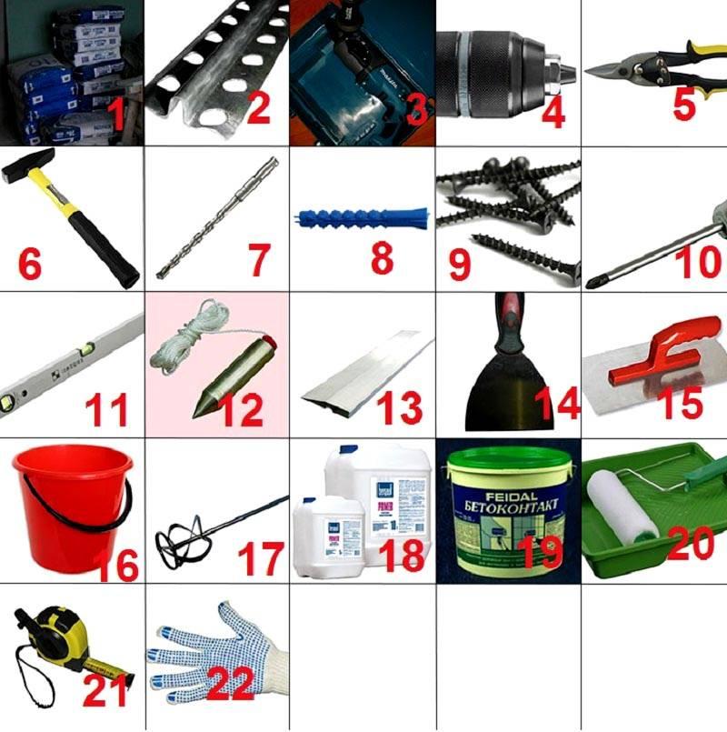 Подготовка к штукатурным работам: материалы, измерительные устройства, приспособления, инструменты