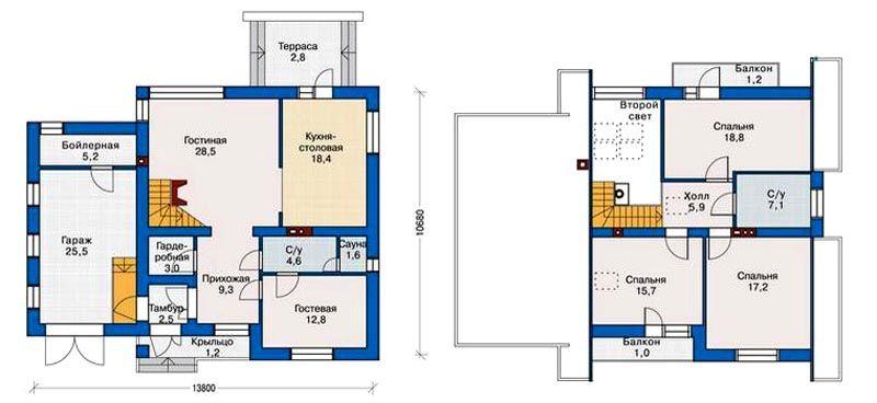 Планы двухэтажных домов: фото галерея планировок разной площади