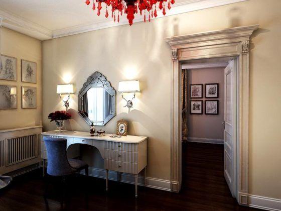 Фото дамского столика с зеркалом в интерьере