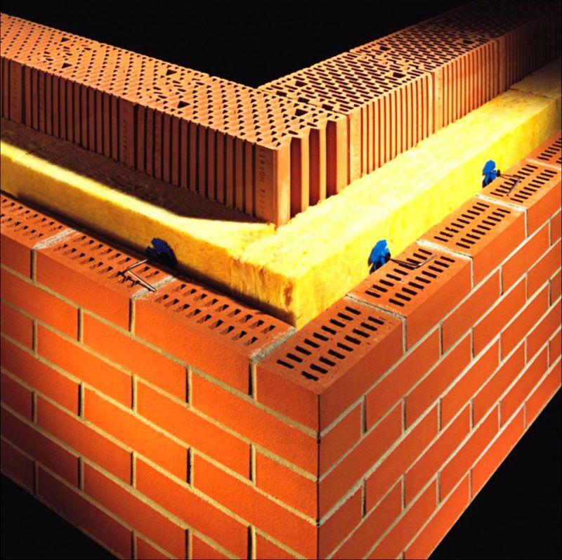 Трехслойная утепленная стена из кирпича