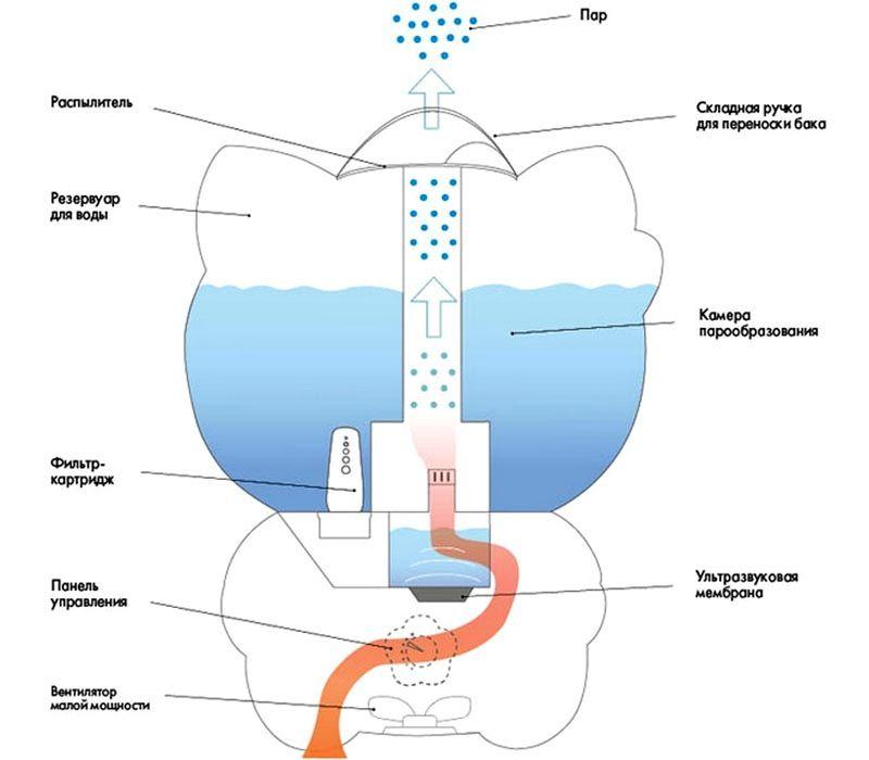 Принципиальная схема типичного ультразвукового увлажнителя воздуха