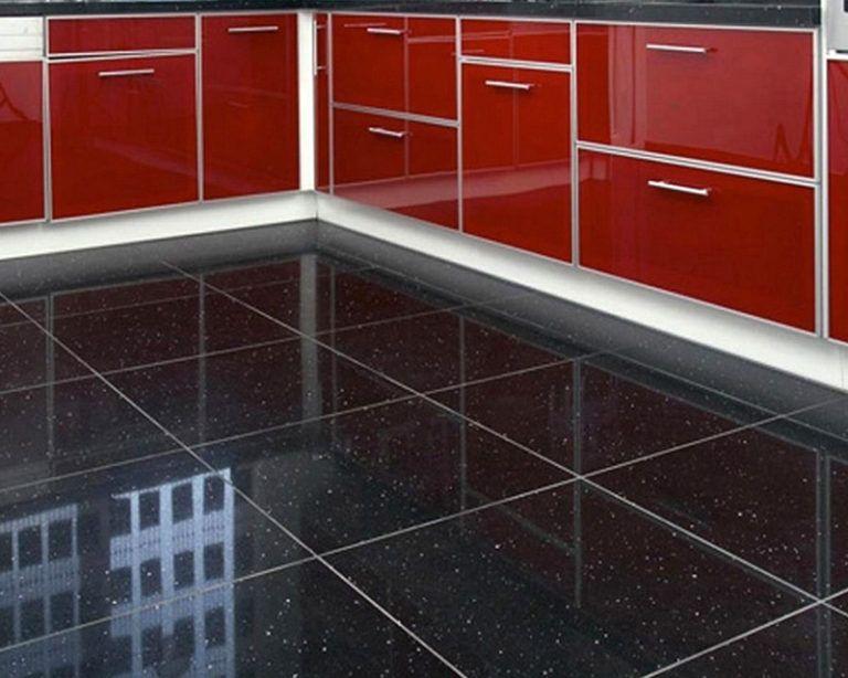 Black sparkly floor tiles