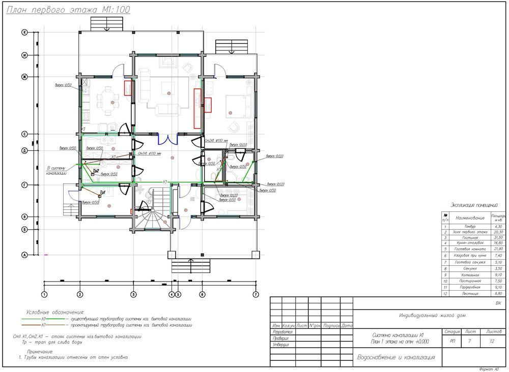 Так выглядит правильно составленная схема канализации на плане частного жилого дома
