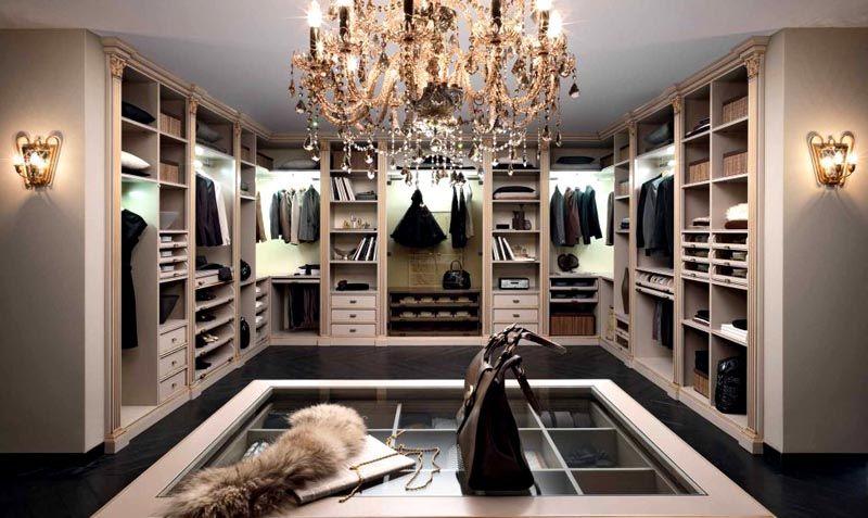 Комбинированное освещение гардеробной комнаты