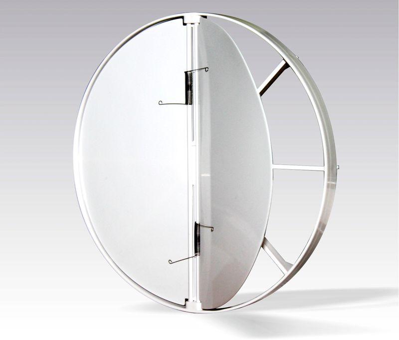 Пружинный обратный клапан – автономное механическое устройство, может устанавливаться в воздуховоды круглого сечения соответствующего диаметра враспор