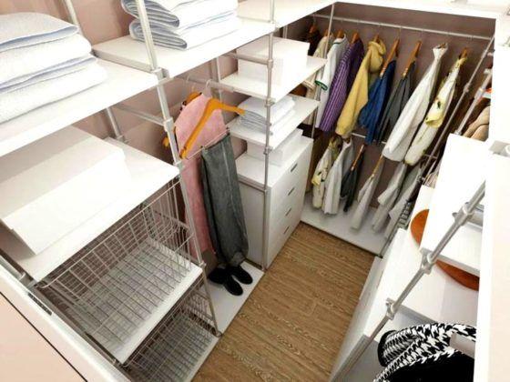 Гардеробная комната 2 кв. м: фото демонстрирует возможности правильного применения модульных систем в ограниченном пространстве