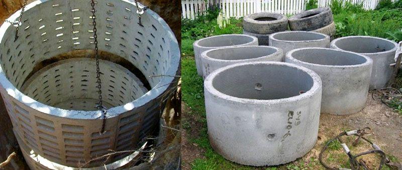 Перфорированные и сплошные железобетонные кольца, используемые для стенок фильтрующего колодца