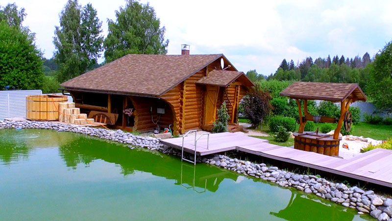 Банный комплекс на берегу бассейна