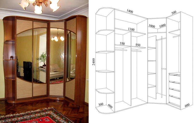 В таком варианте конструкция составлена из стандартных комплектующих деталей корпусной мебели