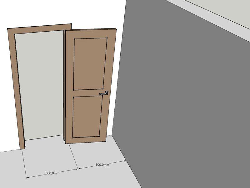 Свободного пространства перед дверью должно быть достаточно для свободного открытия створки