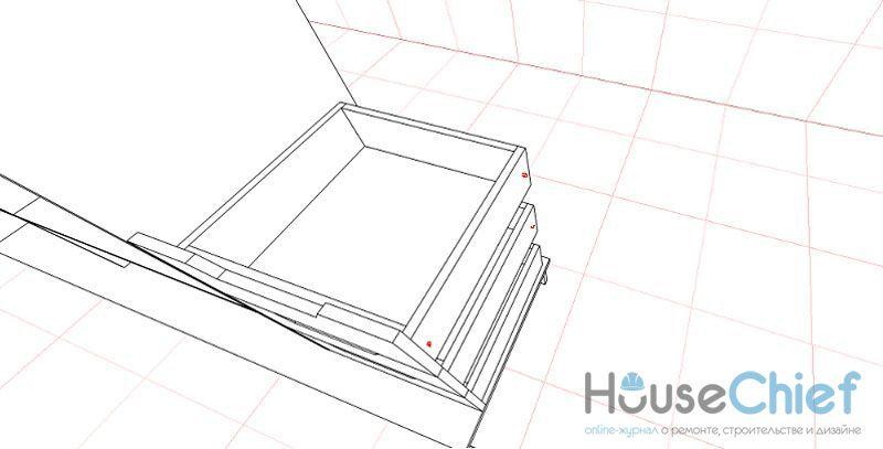 По такой схеме собираются ящики, а красными точками отмечены места сверления