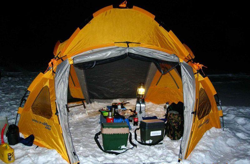 Правильное расположение газового обогревателя в палатке