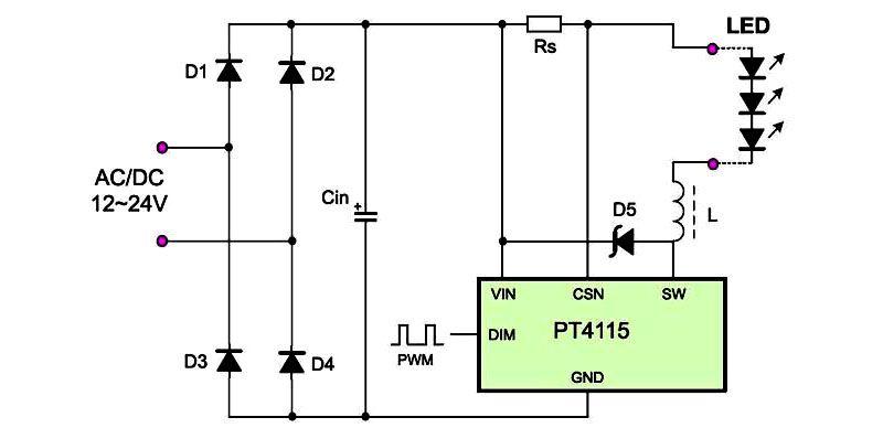 Схема применимая для светодиодов повышенной мощности