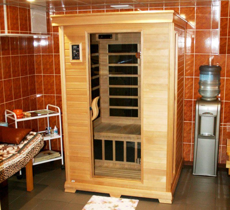 Компактные размеры позволяют разместить инфракрасную сауну в ванной комнате