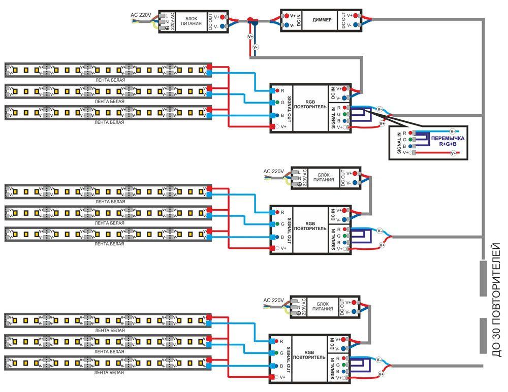 Выносной диммер. Как подключить через него несколько светодиодных лент, показано на этой схеме