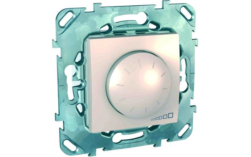 В ассортименте Schneider Electric можно найти поворотно-нажимные настенные диммеры для светодиодных ламп 220 В