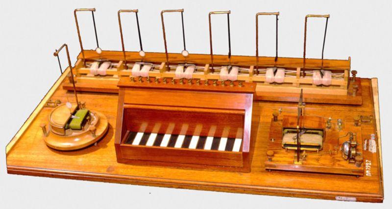Телеграфный аппарат Шиллинга - электромагнитный, шестимультипликаторный вариант, производился ограниченной серией