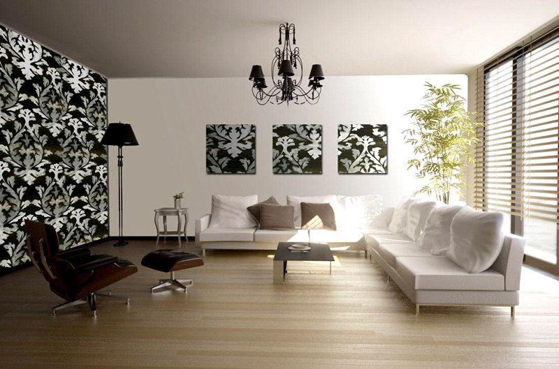 Один из вариантов как комбинировать в зале обои между собой, фото использование части отделочного материала в качестве картины