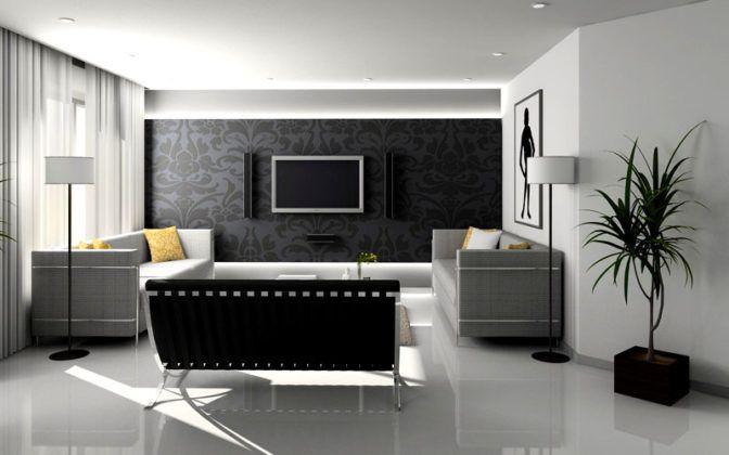 Комбинированные обои в зал, новые решения дизайна 2017-2018 гг. с фото