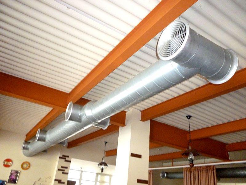 Воздух попадает в вентканал при помощи нагнетательного устройства, проходит через группу фильтров, нагревается или охлаждается и попадает в здание