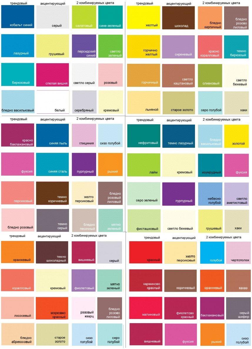 Таблицы подбора гармоничных цветов к синему, розовому, желтому,зеленому, красному и оранжевому