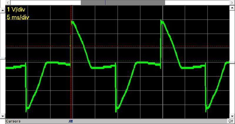 Картинка на экране осциллографа (напряжение сети питания после обработки)