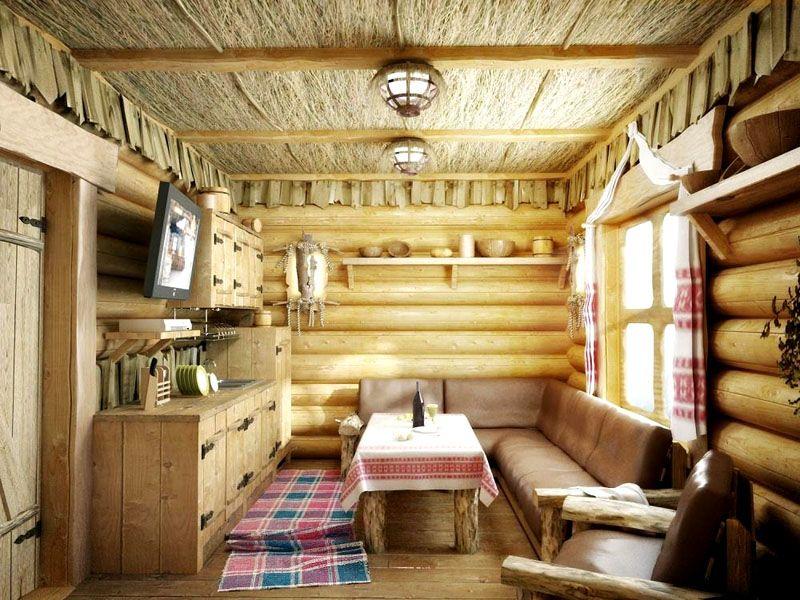 Интерьер комнаты отдыха оформлен в старорусском стиле