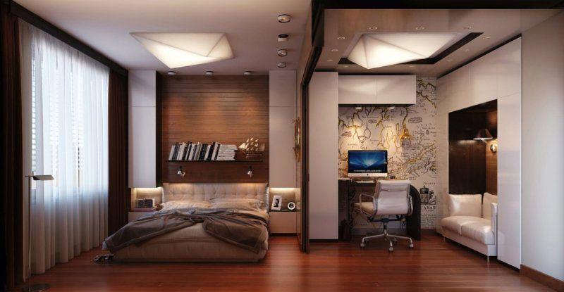 Спальня и рабочее место в интерьере-студии