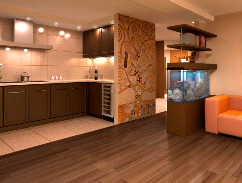 Пол в кухонной зоне лучше делать из керамогранита, а в жилой − из ламинированной доски
