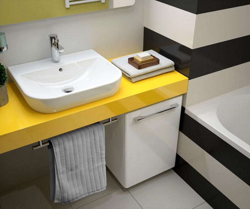 При выборе столешницы необходимо учитывать общее оформление ванной
