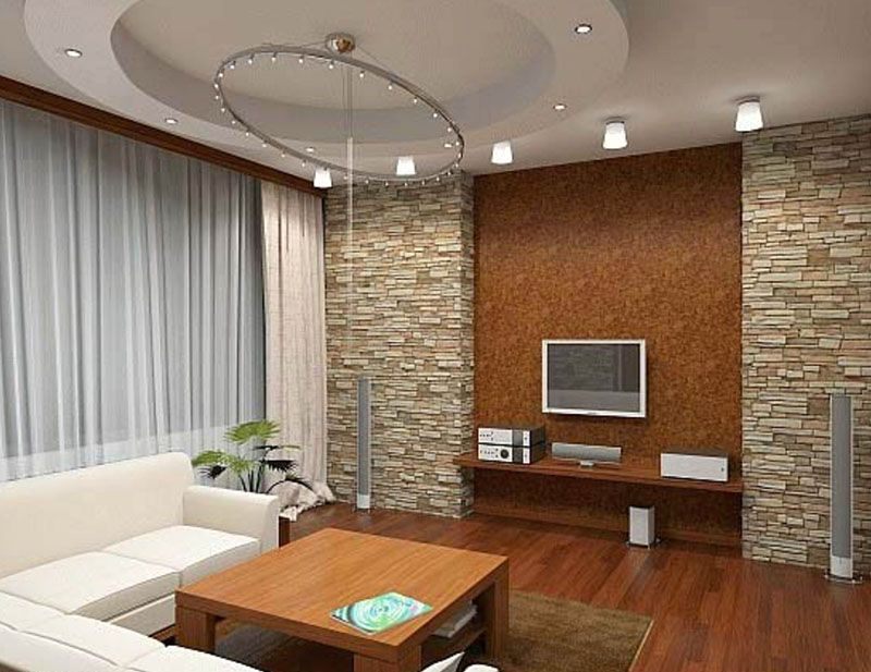 Сочетание различных материалов при отделке стен всегда выгодно смотрится