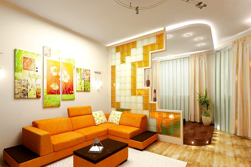 Чтобы получить хорошую освещённость, нужно использовать лёгкие шторы и прозрачные перегородки