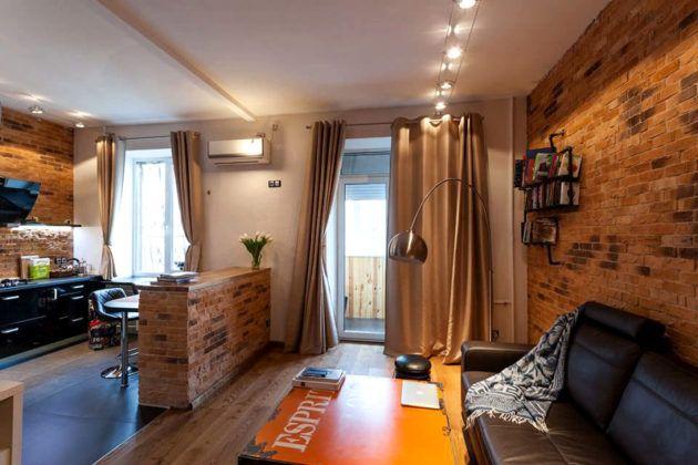 Фото того, как выглядит квартира-студия с отделкой в стиле «лофт»