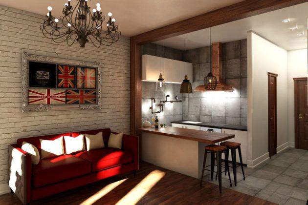 Кирпичная стена и кованые светильники придают помещению особый шик