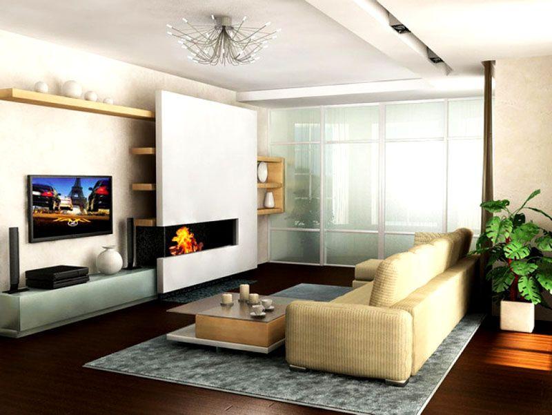 Ковёр обозначает границы гостиной и кухни