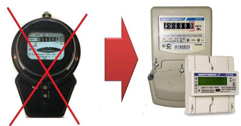 Индукционные счётчики электроэнергии всё больше вытесняются электронными приборами
